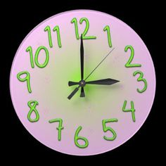 Pink wall clock with funny green numbers and butterflies by YANKAdesigns on Zazzle, $24.95 Great clock for children's room!