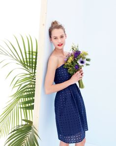 J.Crew women's Hayley dress in organza eyelet. To preorder call 800 261 7422 or email verypersonalstylist@jcrew.com.