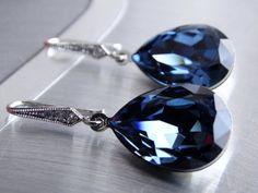 Navy Blue Earrings  Royal Blue earrings Denim by MyTinyStarShining, $26.00