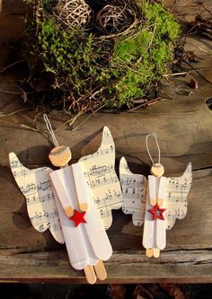 Basteln und Dekorieren - Engel aus Holzstäbchen DIY craft, angle
