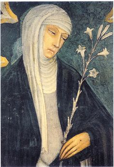 Saint Catherine of Siena. Fresco in church of S. Dominico, Siena. (Fresco around 1400 from Andrea Vanni)