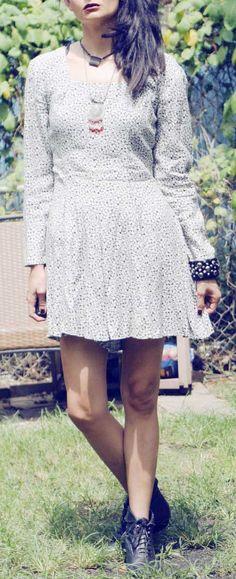 Vintage 90s Grunge Floral print Mini Dress Romper - Long sleeve Jumper - US Size Small Medium