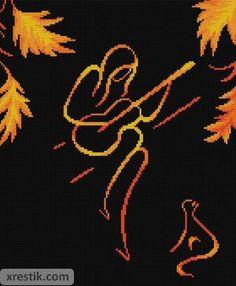 Девушка с гитарой. Размер в крестиках: 140х170. Количество оттенков: 5. Схема для вышивки девушки с гитарой.