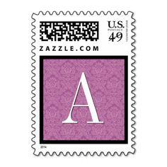 Pink Damask Monogram Wedding Stamp