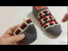 Labirent patik modelleri / Çeyizlik patik modelleri / Kolay patik modelleri - YouTube Two Needle Socks, Crochet Slippers, Baby Knitting Patterns, Lace Up Shoes, Fingerless Gloves, Arm Warmers, Hand Embroidery, Free Pattern, Diy And Crafts
