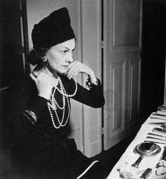 Gabrielle Coco Chanel, (55), in pearls, Photo by Jean Moral, 1938