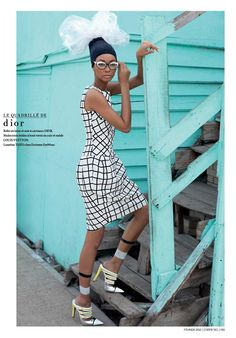 Chanel Iman for L'Officiel Paris February 2012 shot in South Africa wearing Dior