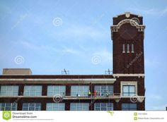 Photo about An image of a team of window cleaners on a elevator hoist scaffolding working on cleaning the windows of a large old brick building. Image of image, window, industrial - 103143626 Industrial Windows, Old Bricks, Brick Building, Window Cleaner, Big Ben, Kansas, Editorial, Cleaning, City