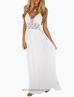 LILBETTER Women's Beach Crochet Backless Bohemian Halter Maxi Long Dress (S, White)  BUY NOW     $49.99    *Can't get enough of maxi dresses? This crochet top maxi dress is a perfect addiction to your collection.  *This long breezy frock features a halter neck supported by ..