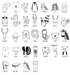 Get to know the wild Modern dress for hip kids - tiere zeichnen - Happy Baby Doodle Drawings, Easy Drawings, Doodle Art, Simple Animal Drawings, Sharpie Drawings, Tier Doodles, Animal Doodles, Modern Outfits, Grafik Design