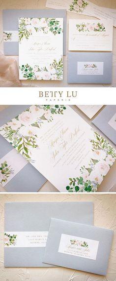 Dusty Blue Wedding Invitations Spring Floral Wedding Invite #weddinginvitation #weddinginvitations