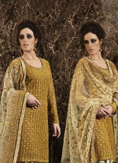 Stupendous Embroidered Work Mustard Net Punjabi Suit #salwar kameez  #indian #trendy #red #bridal#bollewood #party wear #traditional#online #mangosurat#style #boutiques #shopping #fashion #modal #social #branding #sales #marketing #business #discount #deal #success #ethnic #creation #embroidery #classic #cloth #clothing #bridal wear#jardoshi #work #chiffon #acteress #navel #desi #new #woman fashion #designersuit