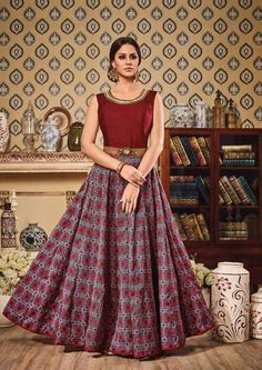 Gorgeous Grey and Maroon #Anarkali #Suit