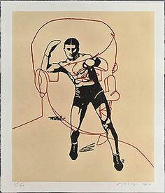 Eduardo Arroyo. Suite Senefelder. 46. Arthur Cravan tras su combate contra J. Johnson