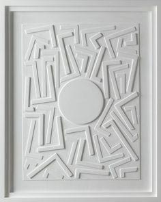 imagen creada por Stephen Antonakos      Untitled Wood Relief (E-1) imagen creada a partir dela modelación de el soporte.