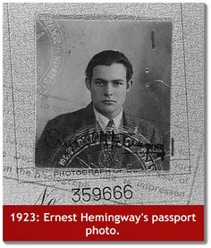 Ernest Hemingway's passport photo....resembles a young #johnnydepp