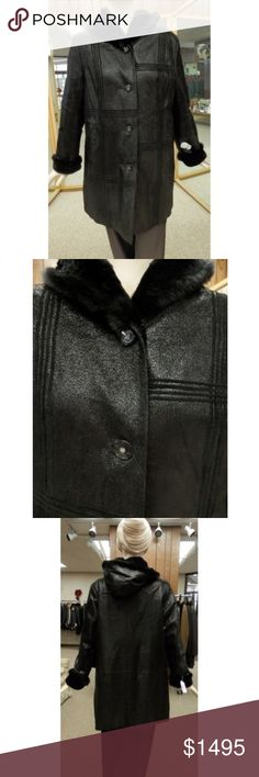 """Prodi Black Embossed Shearling Parka and Mink Trim Prodi 34"""" Black Shiny Embossed Shearling Leather Parka with Suede Striping Detail and Ranch Mink Trim  Size: Marked XL, fits size 8-10  Ranch Mink Trim on Hood and Cuffs  Hood  Prices are firm Prodi Jackets & Coats"""