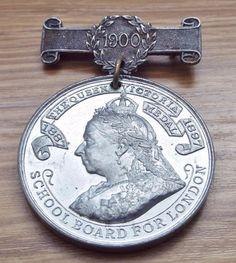 Antique 1900 Queen Victoria London School Board Attendance Medal Attendance, Queen Victoria, Badges, London, Antiques, School, Board, Ebay, Accessories