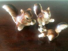 Playful Miniature Ceramic Squirrel Family by LottieDottieVintage on Etsy