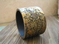 Купить Браслет Дамаск золотисто-черный из полимерной глины - браслет, браслет…