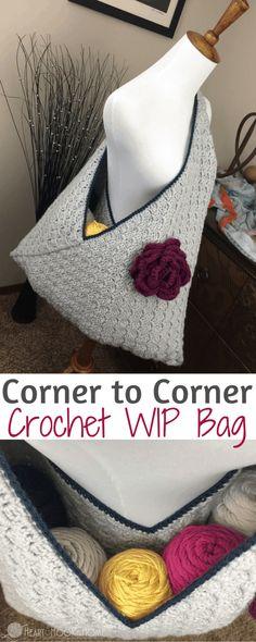 Crochet Wip Bag (Work In Progress) Using Corner to Corner Mochila Crochet, Crochet Shell Stitch, Crochet Handbags, Crochet Purses, Knit Or Crochet, Crochet Crafts, Crochet Stitches, Crochet Bags, Crochet Ideas