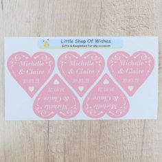 Personalised Wedding Stickers ANY TEXT Swirl Heart Love Hearts (3cm or 6cm)
