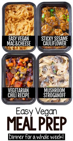 I've gotten so many requests to do a vegan meal prep post, so here it finally is – over 50 delicious, healthy, and plant-based meal prep recipes and ideas for… Cheap Vegan Meals, Vegan Dinners, Vegan Recipes Easy, Vegetarian Recipes, Cooking Recipes, Bulk Cooking, Quick Recipes, Lunch Meal Prep, Meal Prep Bowls