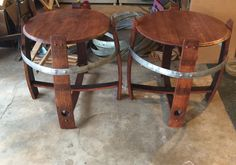 """Wine barrel end tables 24"""" $175 each or $300 a set by Country Cowgirl's Creations"""