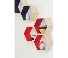 Honeycomb Shelves Set by Handmade Riot // just fabulous, beautiful craftsmanship, ready to hang, if only I weren't renting! #productdesign #designtrend