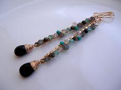 Bejeweled Long Earrings by SarahHickeyJewellery on Etsy, $135.00