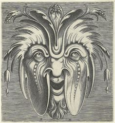 """""""These most fabulous grotesque masks come from a suite of about twenty-two prints designed by Cornelis Floris, engraved by Frans Huys and published in Antwerp in 1555 by Hans Liefrinck."""" That is not an address, that is the year 1555."""