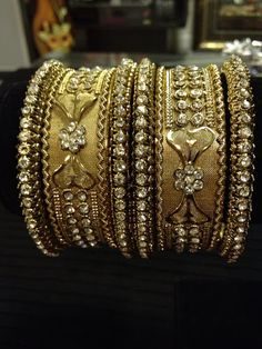 Indian jewelry - bow heart rhinestone bangle set | HDaccessories