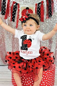 ladybug birthday outfit, first birthday outfit girl personalized , Red and black cake smash outfit girl, baby girl birthday outfit First Birthday Outfit Girl, Baby Girl 1st Birthday, First Birthday Photos, Birthday Ideas, Birthday Pictures, Frozen Birthday, Cake Birthday, Birthday Gifts, Happy Birthday