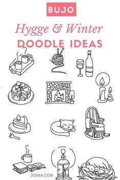 Drawing Doodles Ideas Bullet Journal Hygge Doodle Ideas - Winter Doodles and Decorations For Your Bullet Journal - Hygge Doodles For Your Bujo Bullet Journal Décoration, Bullet Journal How To Start A, Bullet Journal Layout, Bullet Journal Ideas Pages, Planner Doodles, Bujo Doodles, Art And Illustration, Hygge, Winter Drawings