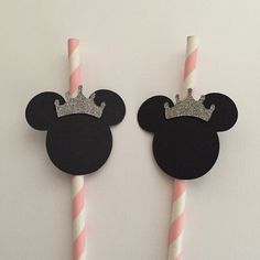 20 princess Minnie mouse straws by Fancymycupcake on Etsy