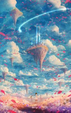 Pin by thony =) on mundos distintos Fantasy Art Landscapes, Fantasy Paintings, Fantasy Landscape, Fantasy Artwork, Landscape Art, Cool Anime Backgrounds, Anime Scenery Wallpaper, Cute Anime Wallpaper, Sky Anime