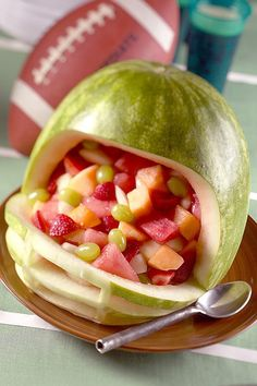 Here's a new way to serve your next fruit salad. #Football #Food