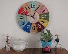 Reloj de pared estilo vintage pintado a mano
