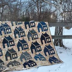 house quilt in blues