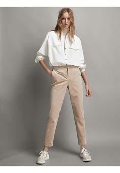 Massimo Dutti Chino - beige - Zalando.be Pantalones Chinos Mujer 8b89c75bf54b