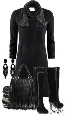 """Black Sweater Dress"" by jackie22 on Polyvore"