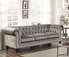Check out Chesterfield Sofa Designs to Enhance Your Living Room. Here at The Architecture Designs, browse all chesterfield sofa pictures here. Velvet Chesterfield Sofa, Grey Velvet Sofa, Upholstered Sofa, Sectional Sofa, Pink Sofa, Blue Velvet, Couches, Grey Sofas, Sofa Upholstery