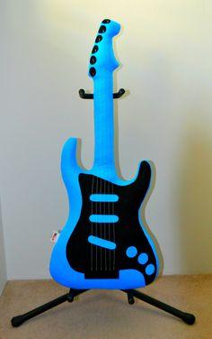 Aqua & Black Electric Guitar Pillow, Guitar Softie, Music Pillow, Decorative Pillow, Pretend Play, Rock n Roll, Rockabilly