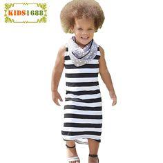 Summer Kids Girl Dresses 2017 New Stripe Style Girl Kids Princess Dress Fashion Elasticity Sleeveless Toddler Girl Clothes Dress