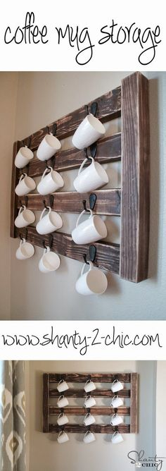 Best DIY Projects: Easy DIY Coffee Mug Display! This is so cute and very easy to modify to fit your space!