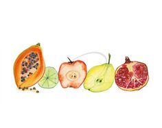 Fruit Juice  Art Print healthy fresh fruit painting by oladesign, $25.00