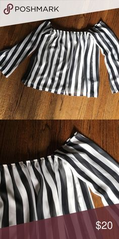 OFF THE SHOULDER STRIPED TOP Loose fitting shirt! Super cute only worn a couple of times, in great condition! Tops Blouses