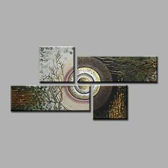 Ready to Hang Stretched Hand-Painted Oil Painting on Canvas Wall Art Contempory Abstract Modern Home Deco Four Panels - AUD $ 125.83