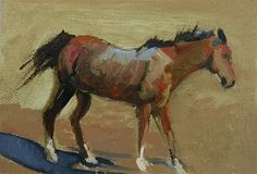 "Daily Paintworks - ""Equine Oil Painting "" Brown Prancing Horse"" by Colorado Artist Susan Fowler"" - Original Fine Art for Sale - © Susan Fowler"