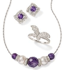 We love the purple-white color combination of this super chic amethyst and cultured freshwater pearl necklace. Embellished with diamond kissed spacers. Cushion-cut amethysts framed with diamonds. >>Click on the Amethyst Jewelry for more options at Ross-Simons.